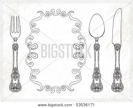 vector cutlery, spoon, fork, knife