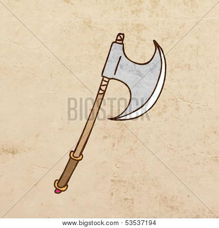 Ax. Cartoon Weapon. Cute Hand Drawn Vector illustration, Vintage Paper Texture Background