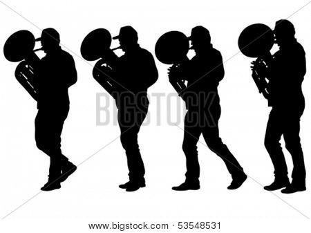 Vector drawing of a man walking with a tuba. Property release is attached to the file