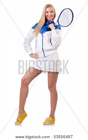 Young woman with tennis raquet