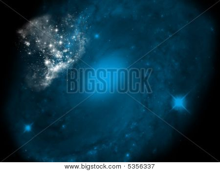 background with galaxy motive - nice color galaxy in dark space poster