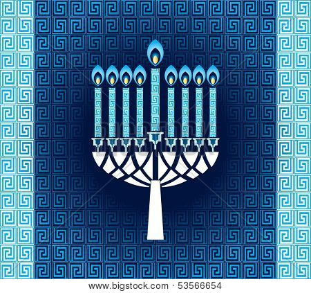 Hanukkah candles with pattern