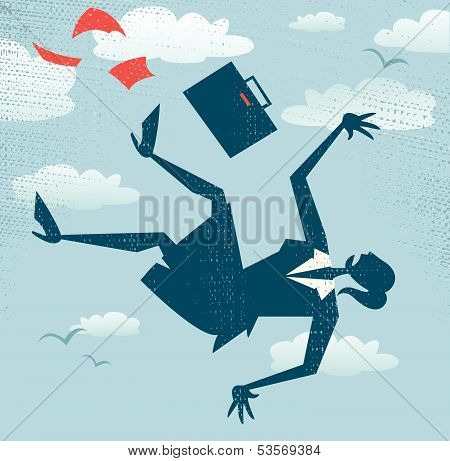 Abstract Businesswoman's career is in Free fall.