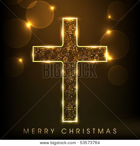 Golden Christian Cross on shiny brown background, Merry Christmas concept.