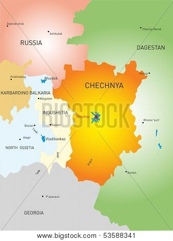 Vector map of Chechen Republic country poster