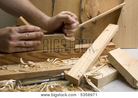 Joinery Workshop With Wood Tools