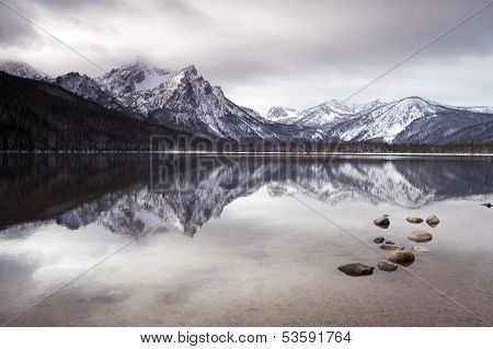 Sawtooth Mountain Lake Deep Winter Landscape Idaho National Recreation Area