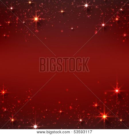 Red christmas abstract texture background. Holiday illustration with stars and sparkles. Vector.