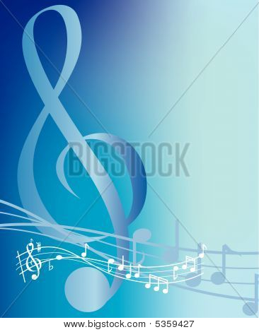 Blue Music Note Background