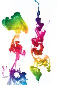 shot of colorful and red ink underwater poster