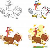Illustration Of Turkey Escape Cartoon Character. Collection Set poster