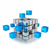 Business teamwork internet communication concept - cubes assembling into metal cubic structure isolated on white with reflection poster