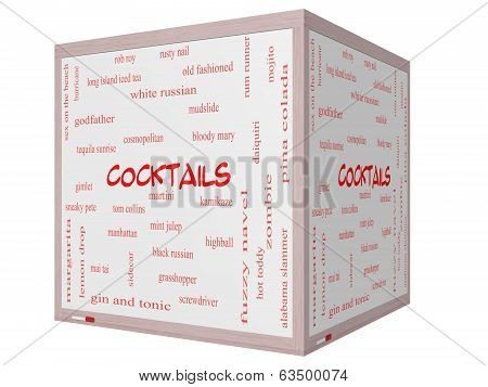 Cocktails Word Cloud Concept On A 3D Cube Whiteboard