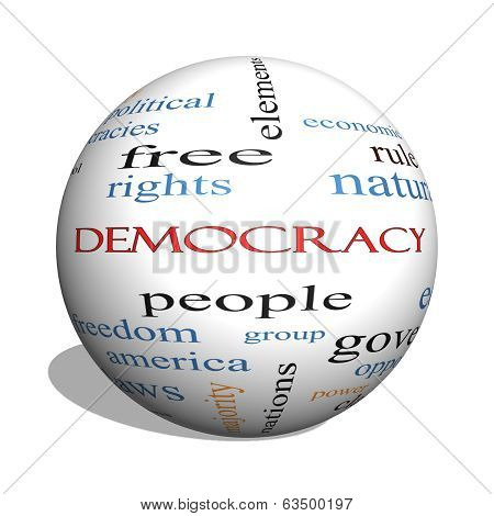 Democracy 3D Sphere Word Cloud Concept