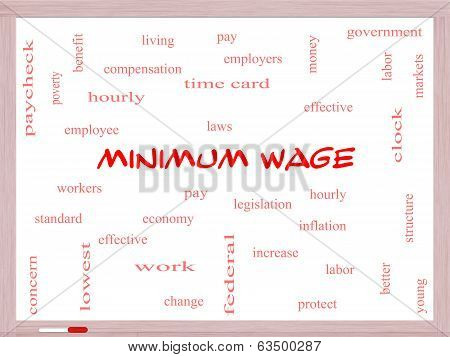 Minimum Wage Word Cloud Concept on a Whiteboard with great terms such as pay laws hourly workers and more. poster