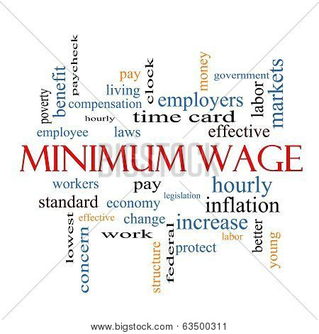 Minimum Wage Word Cloud Concept with great terms such as pay laws hourly workers and more. poster