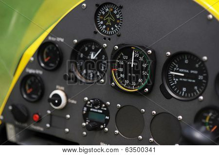 Close-up view of the gyroplane instrument panel poster