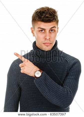 young man pointing finger