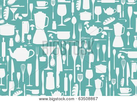 seamless pattern with cooking icons background