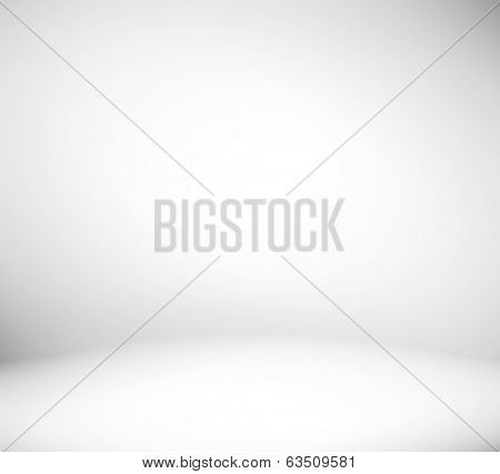 Abstract illustration background texture of light gray and blue gradient wall, flat floor, white ceiling and sides from metal in empty spacious room interior with mist and haze