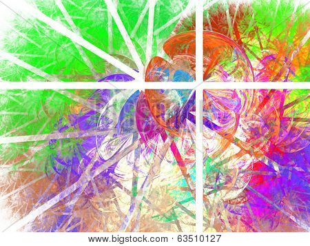 Beautiful intricate colorful abstraction composed of four rectangles with bubbles and stripes pattern on the white background. poster