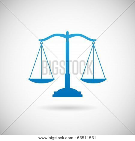 Law Symbol Justice Scales Icon Design Template on Grey Background  Vector Illustration