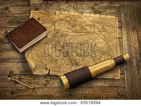 Old World Map With Telescope