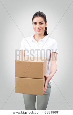 Female worker delivering packages
