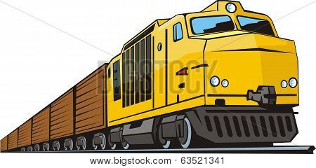 railway locomotive with vans for cargo transportation poster