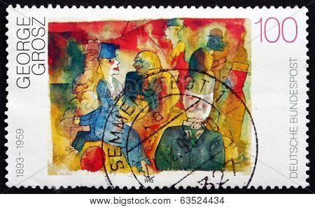 Postage Stamp Germany 1993 Café, By George Grosz