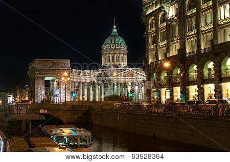 Kazan Cathedral Or Kazanskiy Kafedralniy Sobor At Night, St. Petersburg, Russia