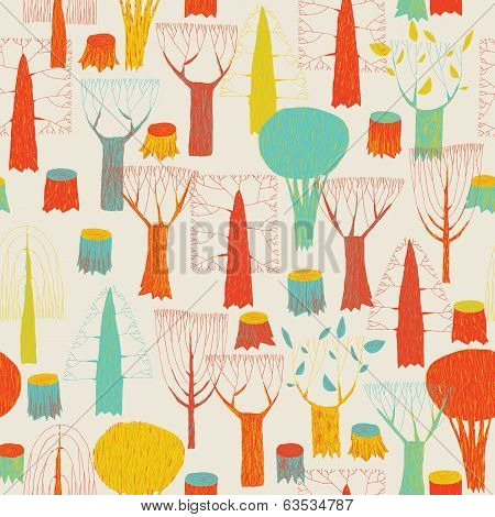 Trees Seamless Pattern Tapestry In Pop-colors