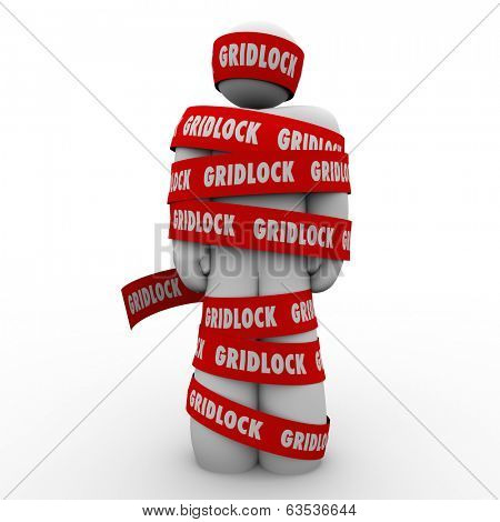 Gridlock Red Tape Wrapped Around Person Trapped Caught Bureaucracy