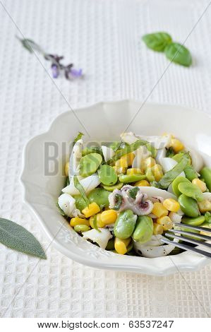 Cuttlefish salad with fresh fava beans and corn