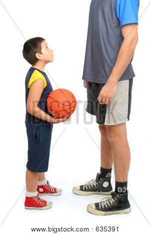little boy asking big man to play basketball . From my sport series. poster