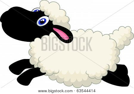 Cartoon sheep jumping