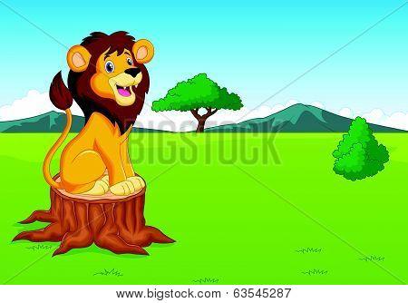 Vector illustration of Cute lion cartoon in the savannah poster