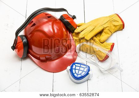 Protective construction work wear on white table