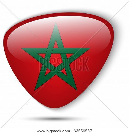 Vector - Morocco Flag Glossy Button Icon poster