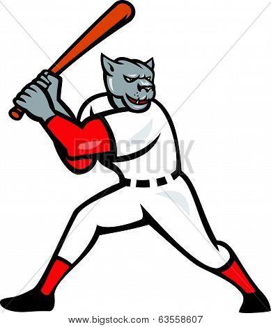 Black Panther Baseball Player Batting Isolated