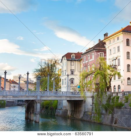 Romantic medieval Ljubljana's city center, the capital of Slovenia, Europe. Gallus bank of river Ljubljanica with Cobblers' Bridge or the Shoemakers' Bridge. poster