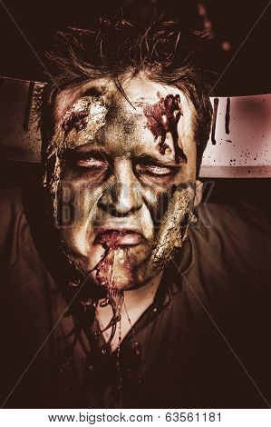 Dark Scary Halloween Zombie With Bloody Mouth