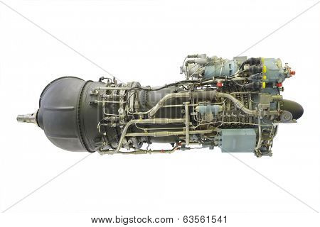 turbo jet engine under the white background poster