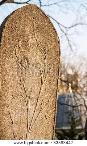 A Ottoman Gravestone At Eyup, Istanbul