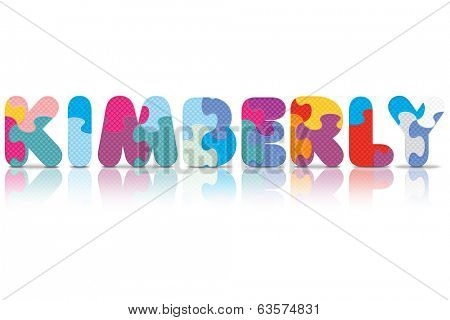 KIMBERLY written with alphabet puzzle - vector illustration