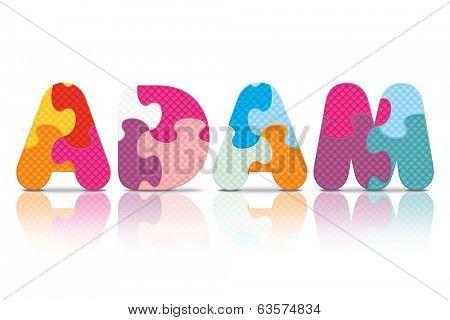 ADAM written with alphabet puzzle - vector illustration