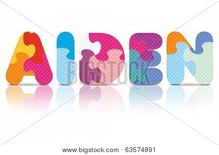AIDEN written with alphabet puzzle - vector illustration