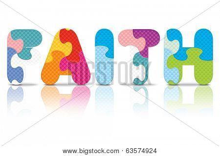 FAITH written with alphabet puzzle - vector illustration