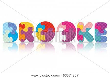 BROOKE written with alphabet puzzle - vector illustration