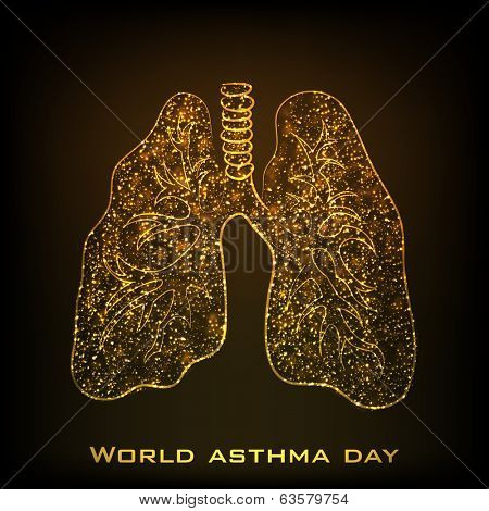 World Asthma Day concept with illustration of lungs in golden color, concept for World Asthma Day.